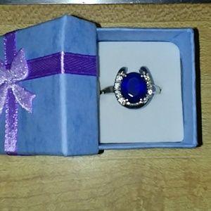 Jewelry - Horseshoe Ring Blue Stone